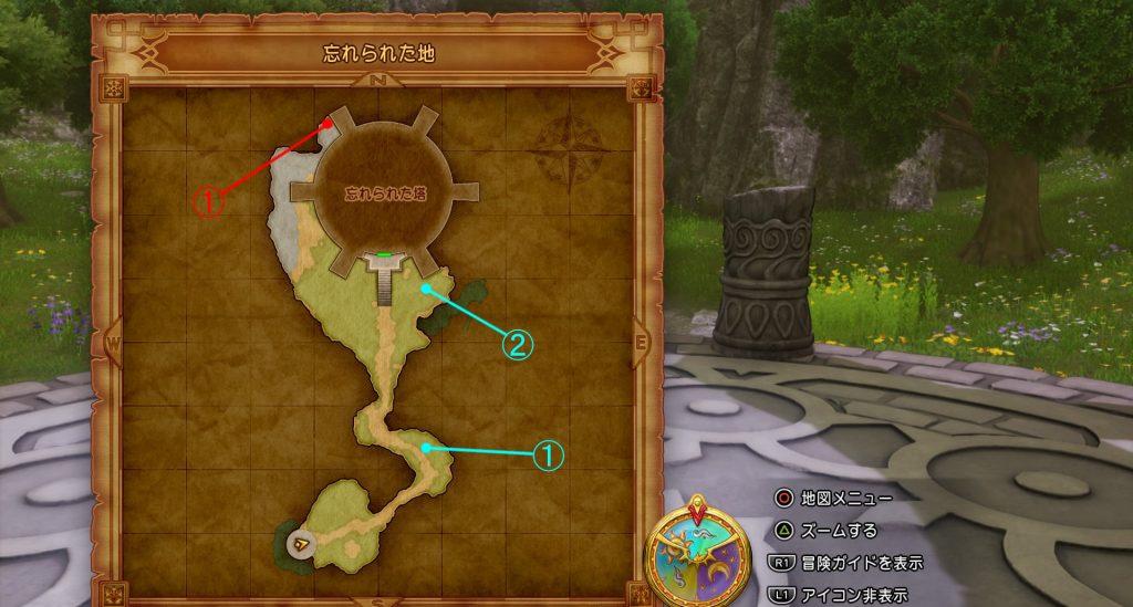 ドラゴンクエスト11の『忘れられた地』の全体マップです。