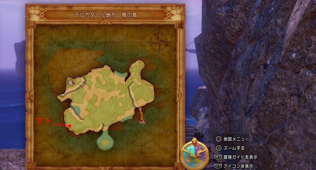 ドラゴンクエスト11のミニゲーム『ボウガンアドベンチャー』の『デルカダール地方・南の島』の全体マップです。