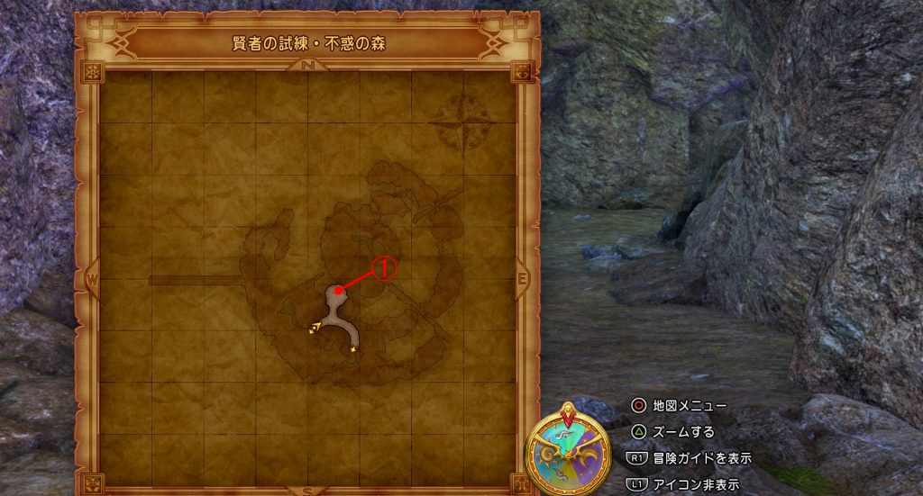 ドラゴンクエスト11の『賢者の試練・不惑の森(内部)』の全体マップです。