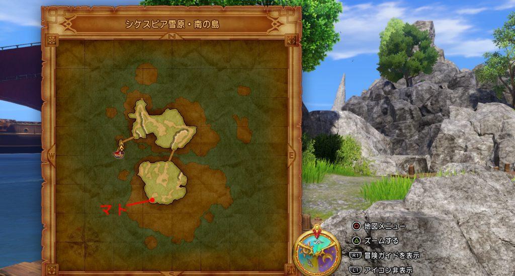 ドラゴンクエスト11のミニゲーム『ボウガンアドベンチャー』の『シケスビア雪原・南の島』の全体マップです。