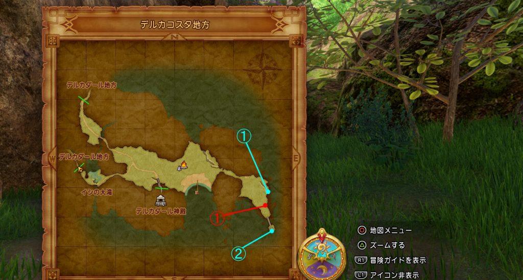 ドラゴンクエスト11の『デルカコスタ地方(2回目)』のフィールドマップです。