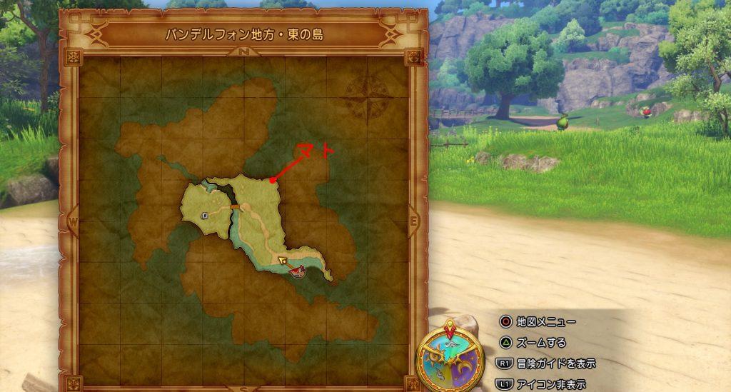 ドラゴンクエスト11のミニゲーム『ボウガンアドベンチャー』の『バンデルフォン地方・東の島』の全体マップです。