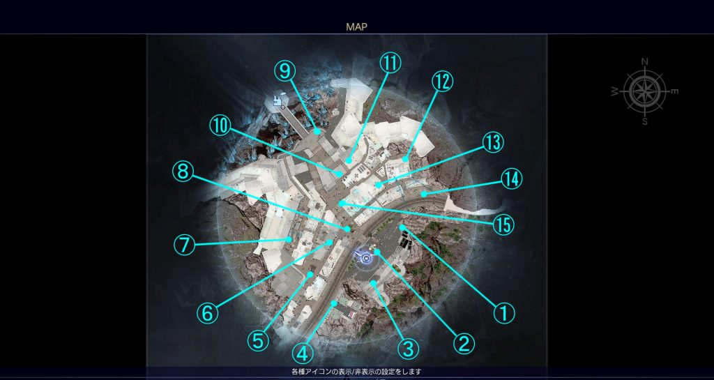 FF15の無料DLC『アサシンズ・フェスティバル』のサブクエスト『真実の旗集め』の全体マップです。