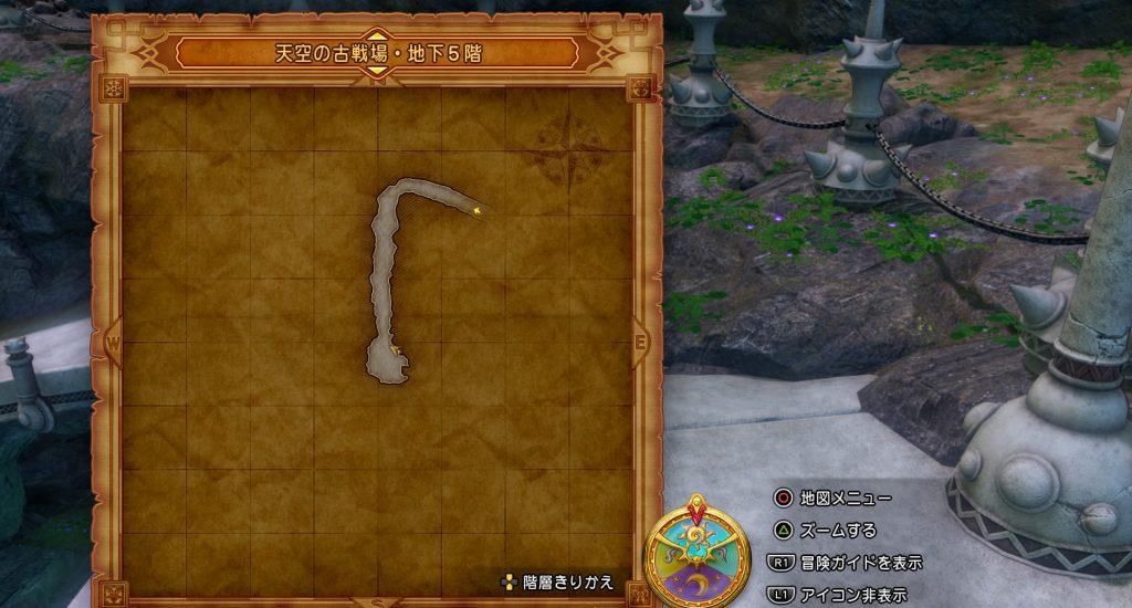 ドラゴンクエスト11の『天空の古戦場・地下5階』の全体マップです。