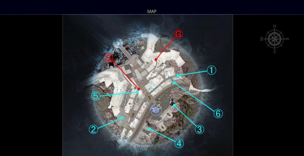 FF15の無料DLC『アサシンズ・フェスティバル』のサブクエスト『アサシントレジャーハント』の全体マップです。