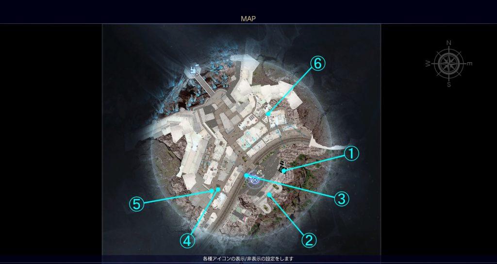 FF15の無料DLC『アサシンズ・フェスティバル』のその他の小ネタ一覧の全体マップです。