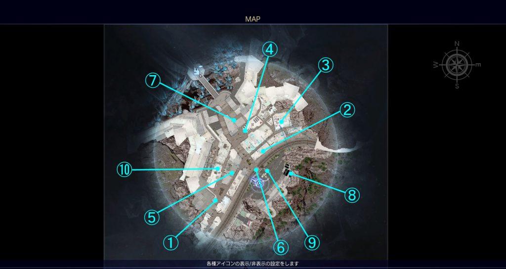 FF15の無料DLC『アサシンズ・フェスティバル』のサブクエスト『アサシンフォトチャレンジ』の全体マップです。
