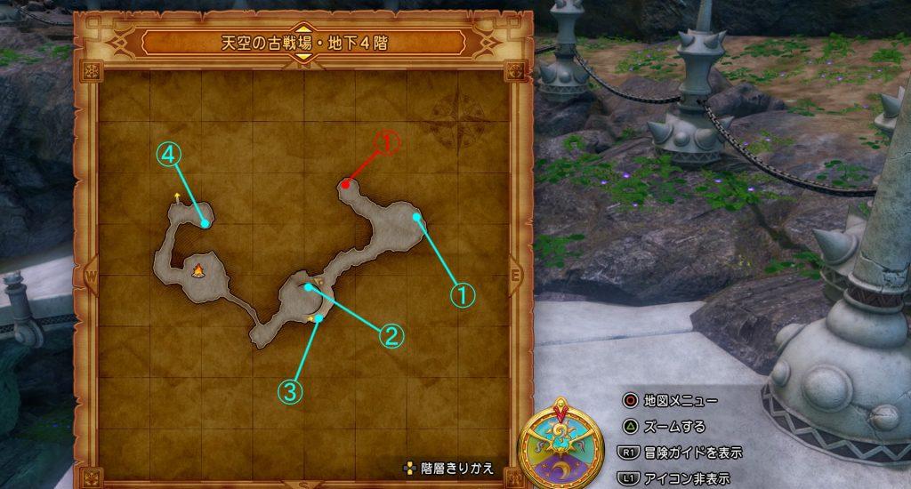 ドラゴンクエスト11の『天空の古戦場・地下4階』の全体マップです。