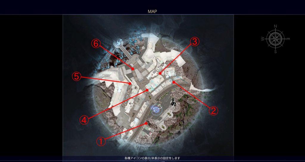 FF15の無料DLC『アサシンズ・フェスティバル』のメインクエストの全体マップです。
