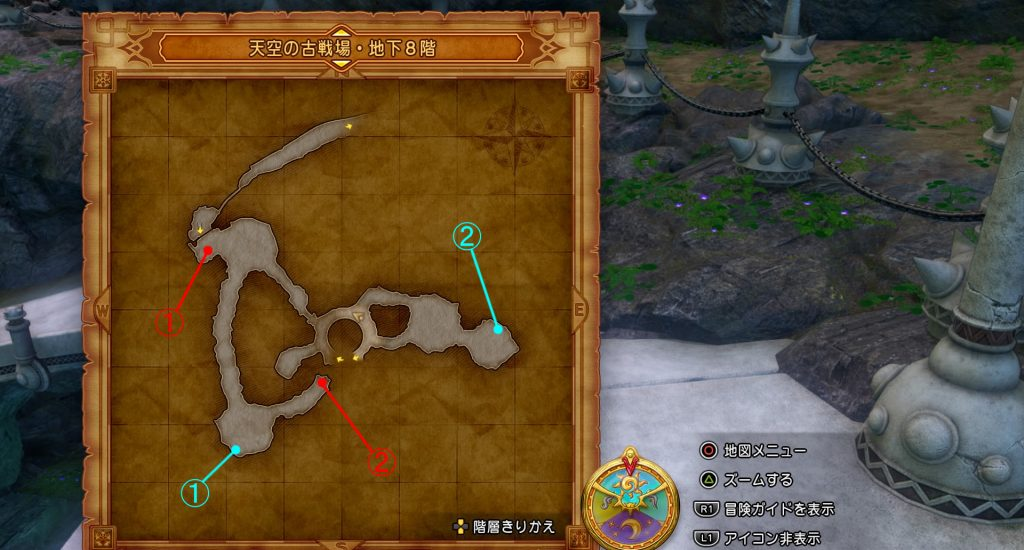 ドラゴンクエスト11の『天空の古戦場・地下8階』の全体マップです。