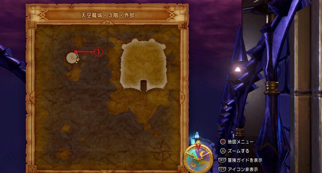 ドラゴンクエスト11『天空魔城・3階・外部(上層)』の全体マップです。