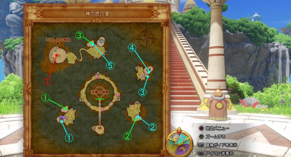 ドラゴンクエスト11の『神の民の里』の全体マップです。