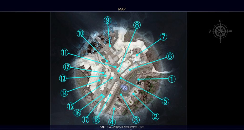 FF15の無料DLC『アサシンズ・フェスティバル』のアサシンメダル入手場所一覧の全体マップです。