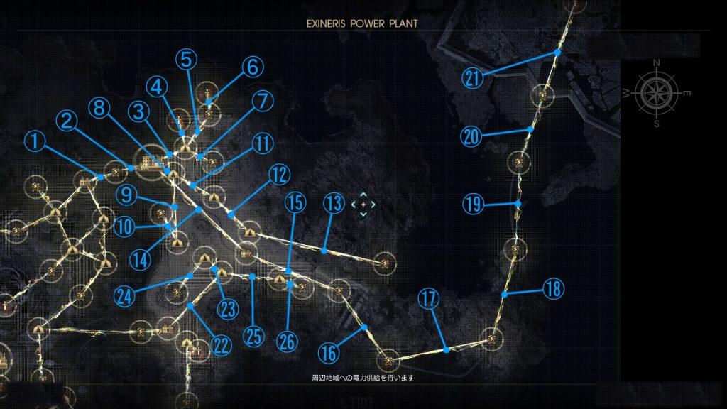 FF15のDLC『戦友』のバージョンアップ後の電力供給マップ(北ダスカ城砦)です。