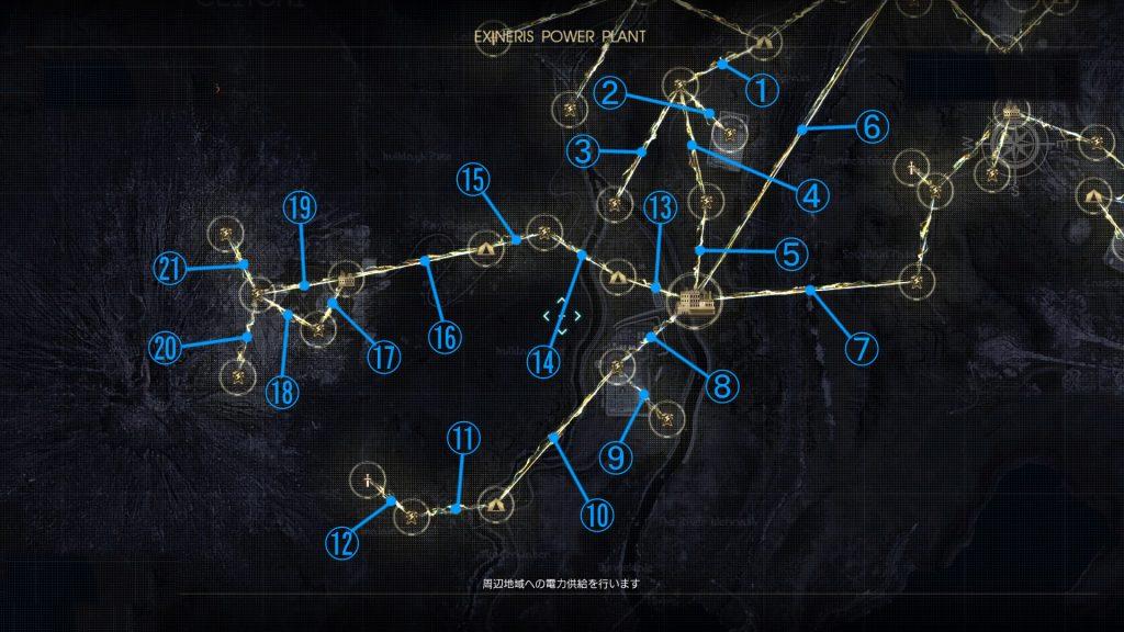 FF15のDLC『FFXVオンライン拡張パック:戦友』の電力供給マップ『オールド・レスタ周辺地域』です。