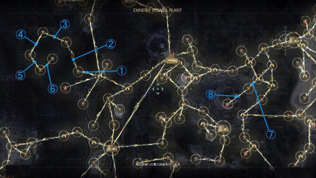 FF15のDLC『戦友』のバージョンアップ後の電力供給マップ(レスタルム周辺地域)です。