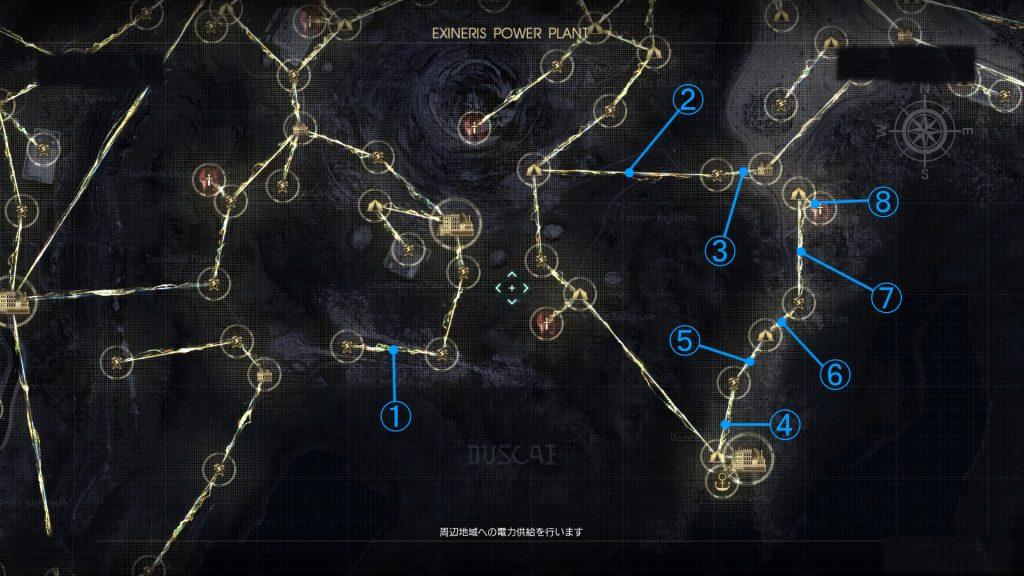 FF15のDLC『戦友』のバージョンアップ後の電力供給マップ(ガーディナ渡船場周辺地域)です。