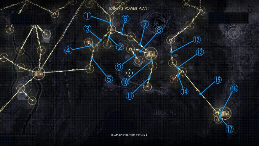 FF15のDLC『FFXVオンライン拡張パック:戦友』の電力供給マップ『カーテス倉庫周辺地域』です。