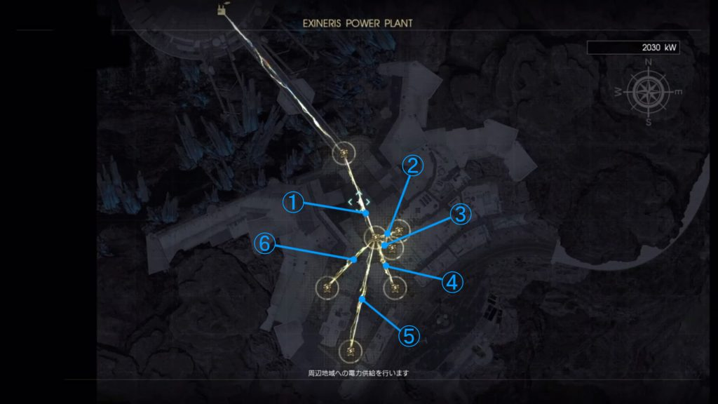 FF15のDLC『FFXVオンライン拡張パック:戦友』の電力供給マップ『レスタルム内』です。