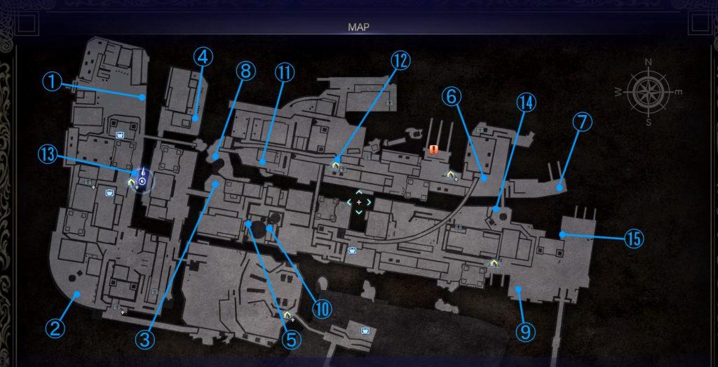 FF15のDLC『エピソードイグニス』の『オルティシエの記録』の全体マップです。