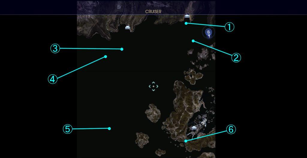 FF15のDLC『FFXVロイヤルパック』のサブクエスト『シャッターチャンス(海上)』の全体マップです。