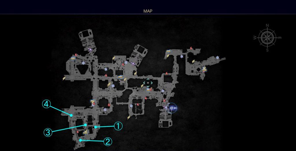 FF15のDLC『FFXVロイヤルパック』のサブクエスト『何時か何処かの王の剣』の王都製バッテリーの全体マップです。