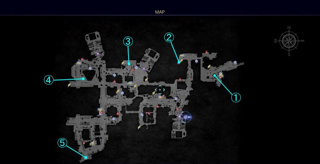 FF15のDLC『FFXVロイヤルパック』のサブクエスト『王無き都の記録』の全体マップです。