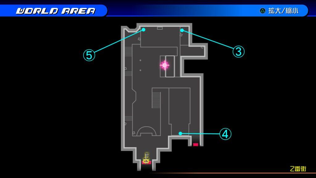 キングダムハーツ3Dのトラヴァースタウン『2番街(ソラ編)』の宝箱マップです。