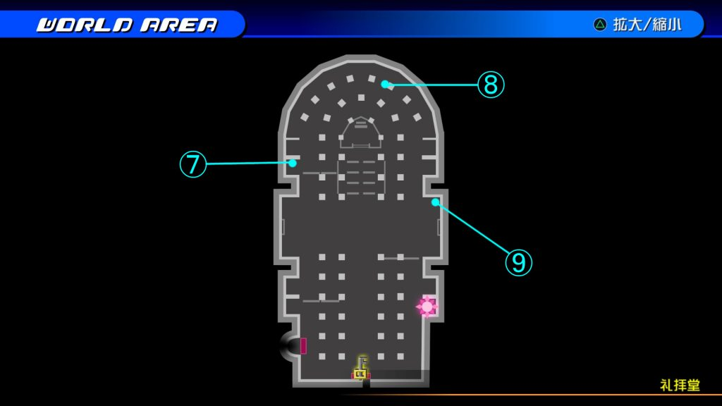 キングダムハーツ3D(HD)の『ラ・シテ・デ・クローシュ(礼拝堂・1階)』で開けられるソラ編の宝箱マップです。