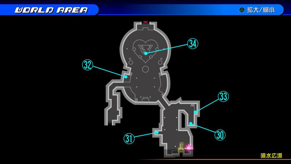 キングダムハーツ3Dのトラヴァースタウン『噴水広場(ソラ編)』の宝箱マップです。