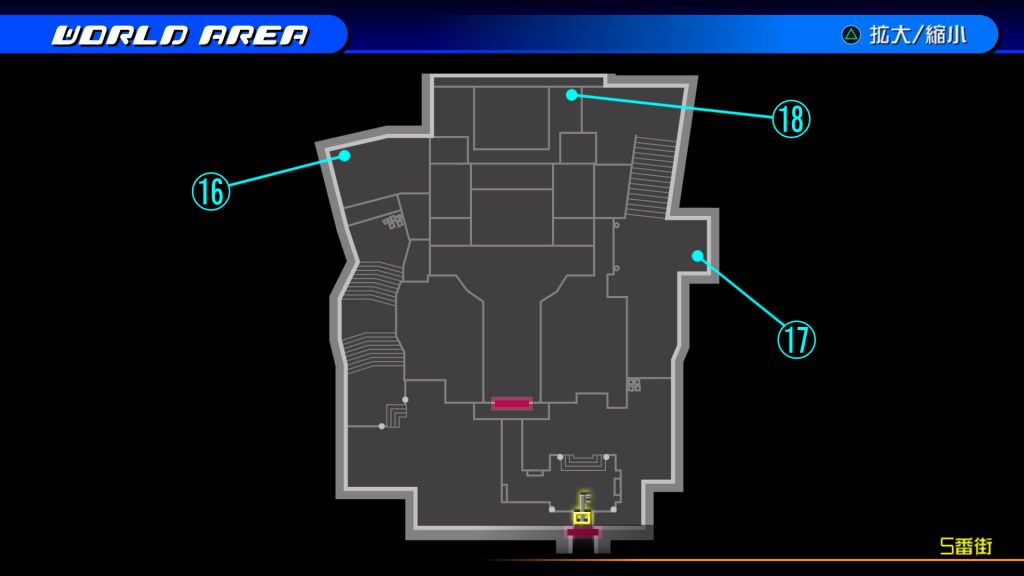 キングダムハーツ3Dのトラヴァースタウン『5番街(ソラ編)』の宝箱マップです。