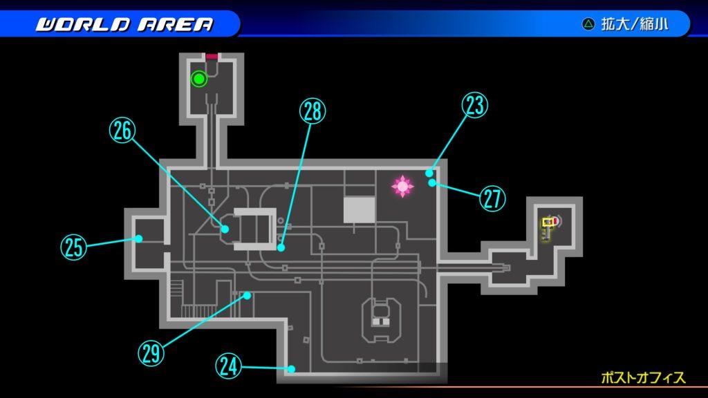 キングダムハーツ3Dのトラヴァースタウン『ポストオフィス(ソラ編)』の宝箱マップです。