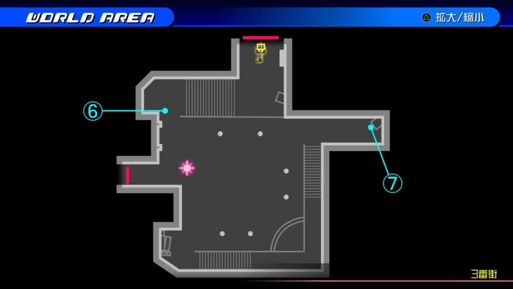 キングダムハーツ3Dのトラヴァースタウン『3番街(ソラ編)』の宝箱マップです。