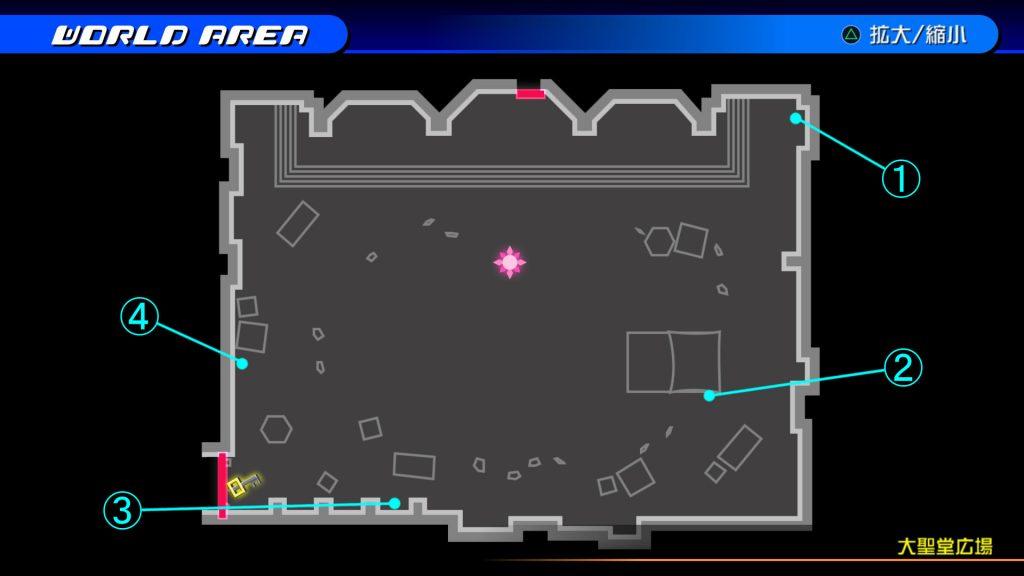 キングダムハーツ3D(HD)の『ラ・シテ・デ・クローシュ(大聖堂広場)』で開けられるソラ編の宝箱マップです。