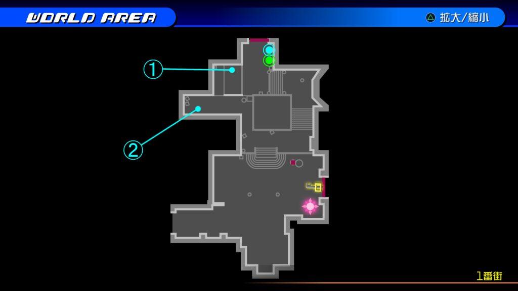 キングダムハーツ3Dのトラヴァースタウン『1番街(ソラ編)』の宝箱マップです。