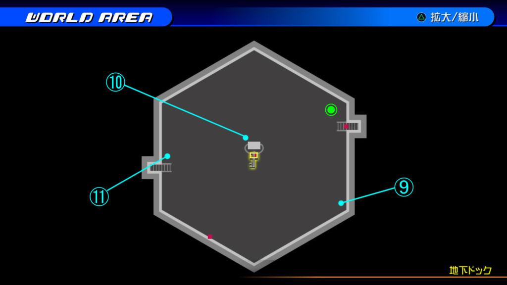 キングダムハーツ3D(HD)のソラ編で開けられる『ザ・グリッド(地下ドック・下層)』の宝箱マップです。
