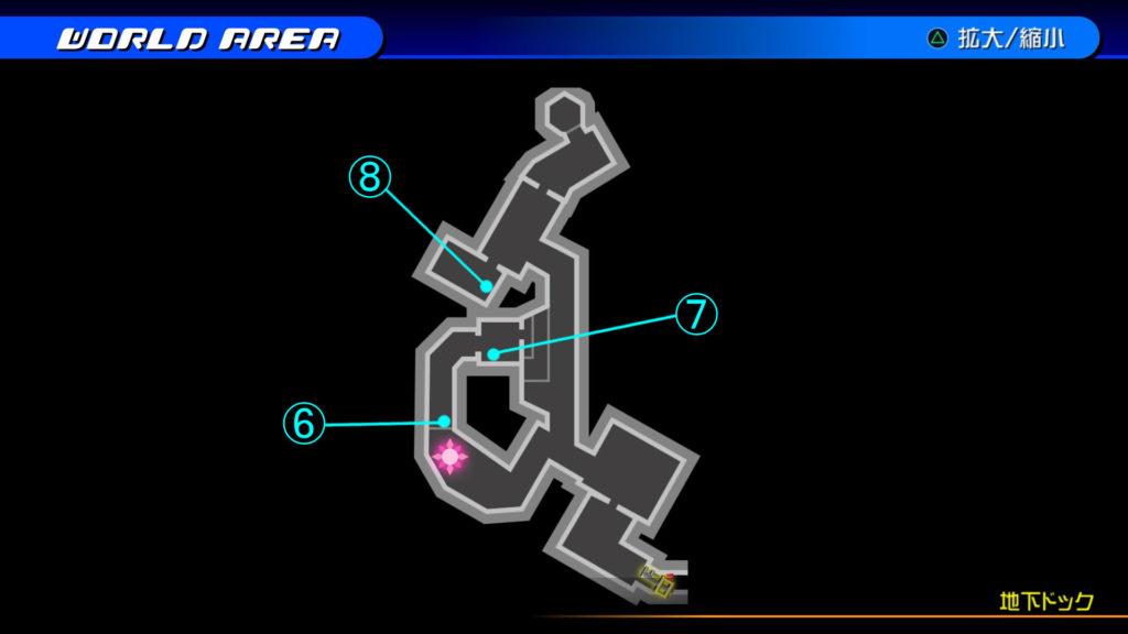 キングダムハーツ3D(HD)のソラ編で開けられる『ザ・グリッド(地下ドック・上層)』の宝箱マップです。