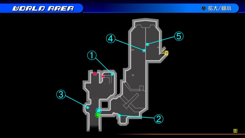 キングダムハーツ3D(HD)のソラ編で開けられる『ザ・グリッド(街)』の宝箱マップです。