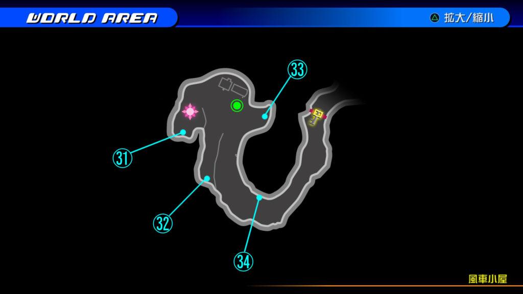 キングダムハーツ3D(HD)のワールド『ラ・シテ・デ・クローシュ(風車小屋)』で開けられるリク編の宝箱マップです。