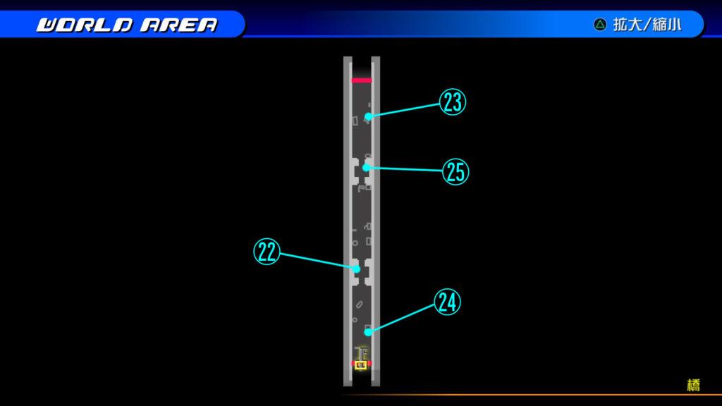 キングダムハーツ3D(HD)のワールド『ラ・シテ・デ・クローシュ(橋)』で開けられるリク編の宝箱マップです。