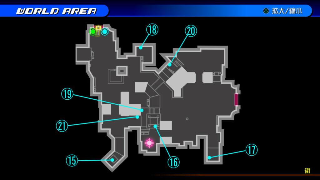 キングダムハーツ3D(HD)のワールド『ラ・シテ・デ・クローシュ(街)』で開けられるリク編の宝箱マップです。
