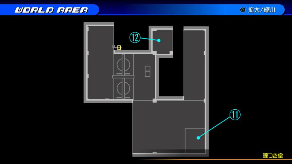 キングダムハーツ3D(HD)のワールド『ラ・シテ・デ・クローシュ(鐘つき堂・上層)』で開けられるリク編の宝箱マップです。