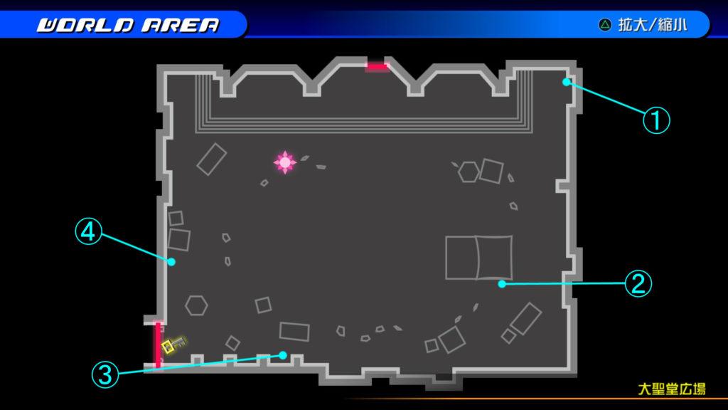 キングダムハーツ3D(HD)のワールド『ラ・シテ・デ・クローシュ(大聖堂広場)』で開けられるリク編の宝箱マップです。