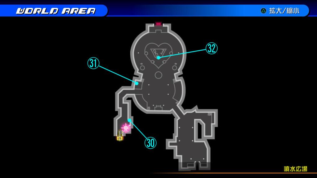 キングダムハーツ3D(HD)のワールド『トラヴァースタウン(噴水広場)』で開けられるリク編の宝箱マップです。