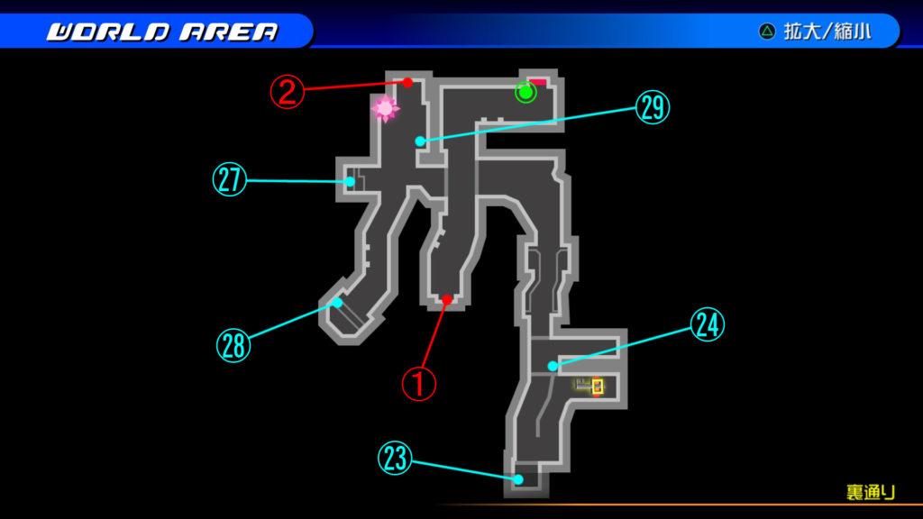 キングダムハーツ3D(HD)のワールド『トラヴァースタウン(裏通り)』で開けられるリク編の宝箱マップです。