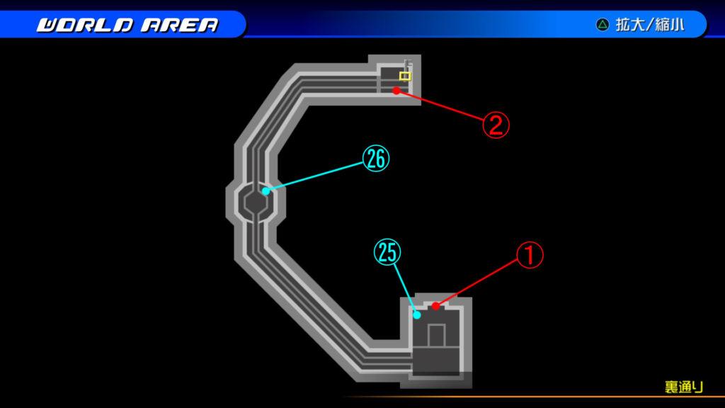 キングダムハーツ3D(HD)のワールド『トラヴァースタウン(裏通り:水路)』で開けられるリク編の宝箱マップです。