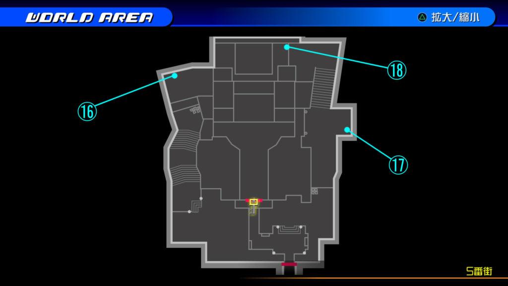 キングダムハーツ3D(HD)のワールド『トラヴァースタウン(5番街)』で開けられるリク編の宝箱マップです。