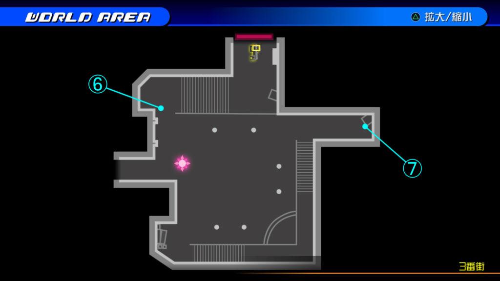 キングダムハーツ3D(HD)のワールド『トラヴァースタウン(3番街)』で開けられるリク編の宝箱マップです。