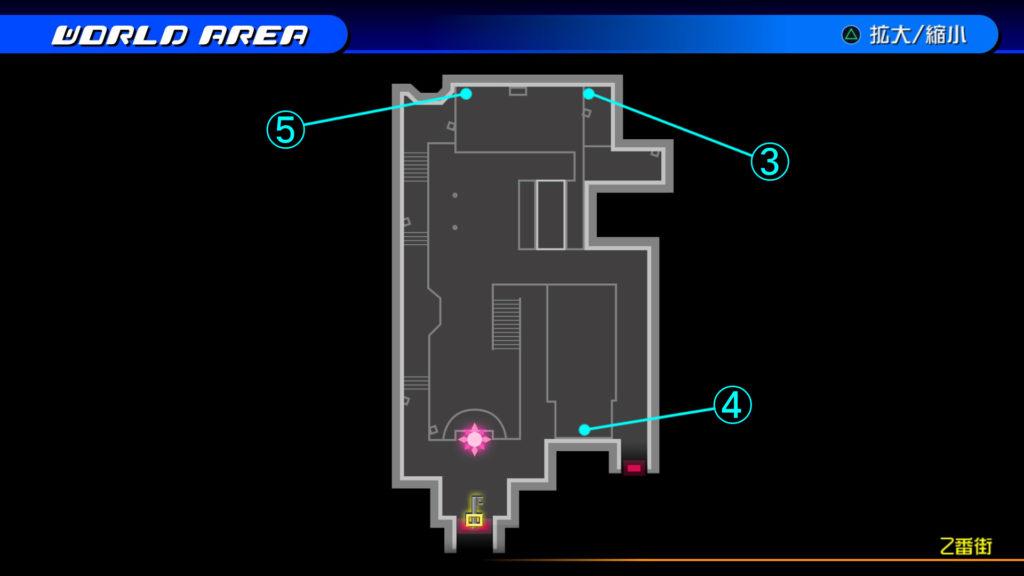 キングダムハーツ3D(HD)のワールド『トラヴァースタウン(2番街)』で開けられるリク編の宝箱マップです。