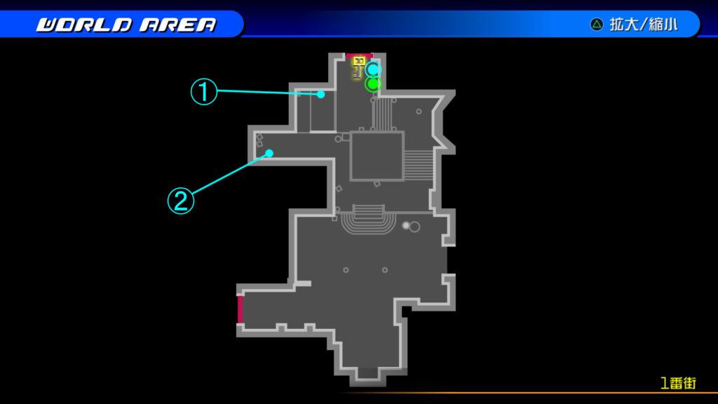 キングダムハーツ3D(HD)のワールド『トラヴァースタウン(1番街)』で開けられるリク編の宝箱マップです。